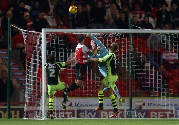 Yeovil Town's debutant goalieChris Dunn makes a great save under pressure- Photo mandatory by-line: Matt Bunn/JMP - Tel: Mobile: 22/11/2013 - SPORT - Football - Doncaster - Keepmoat Stadium - Doncaster Rovers v Yeovil Town - Sky Bet Championship