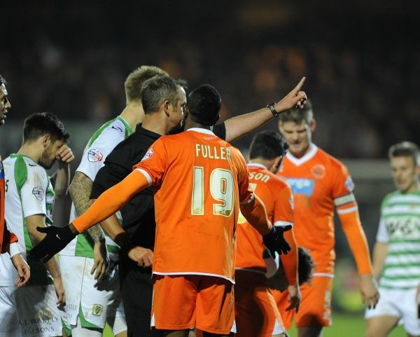 Blackpool's Ricardo Fuller is sent off by Referee, Christopher Sarginson - Photo mandatory by-line: Joe Meredith/JMP - Tel: Mobile: 03/12/2013 - SPORT - Football - Yeovil - Huish Park - Yeovil Town v Blackpool - Sky Bet Championship
