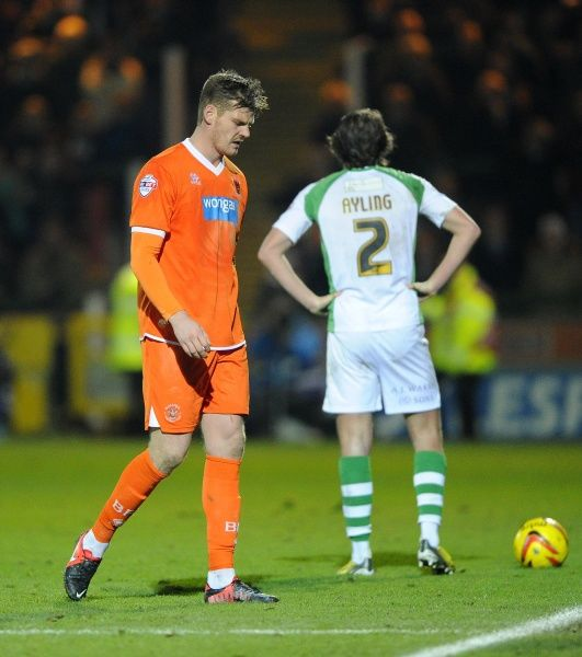 Blackpool's Gary MacKenzie is sent off - Photo mandatory by-line: Joe Meredith/JMP - Tel: Mobile: 03/12/2013 - SPORT - Football - Yeovil - Huish Park - Yeovil Town v Blackpool - Sky Bet Championship