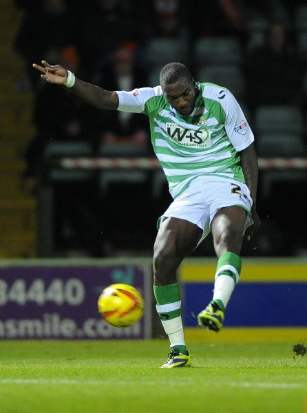 Yeovil Town's Ishmael Miller shoots - Photo mandatory by-line: Joe Meredith/JMP - Tel: Mobile: 03/12/2013 - SPORT - Football - Yeovil - Huish Park - Yeovil Town v Blackpool - Sky Bet Championship