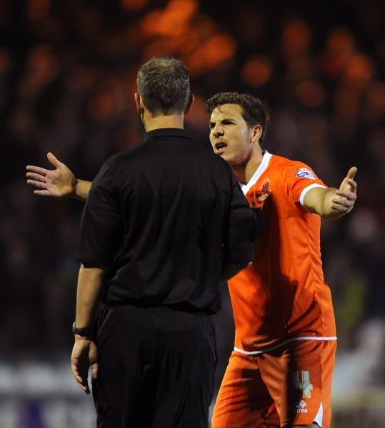 Blackpool's Dan Gosling remonstrates with Referee, Christopher Sarginson on the final whistle - Photo mandatory by-line: Joe Meredith/JMP - Tel: Mobile: 03/12/2013 - SPORT - Football - Yeovil - Huish Park - Yeovil Town v Blackpool - Sky Bet