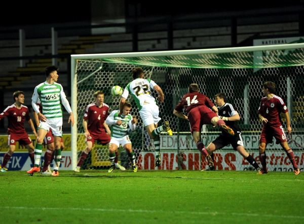 Yeovil Town's Joey Jones goes close towards the end of the game - Photo mandatory by-line: Joe Meredith/JMP - Tel: Mobile: 18/11/2013 - SPORT - Football - Huish Park - Yeovil - Yeovil Town v Latvia - friendly