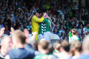 Yeovil Town's Marek Stech, Jamie McAllister and Joe Edwards celebrate