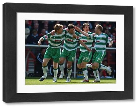 Yeovil Town's Phil Jevons (no 10) celebrates scoring the opening goal of the game at the City Ground. 17th April 2006
