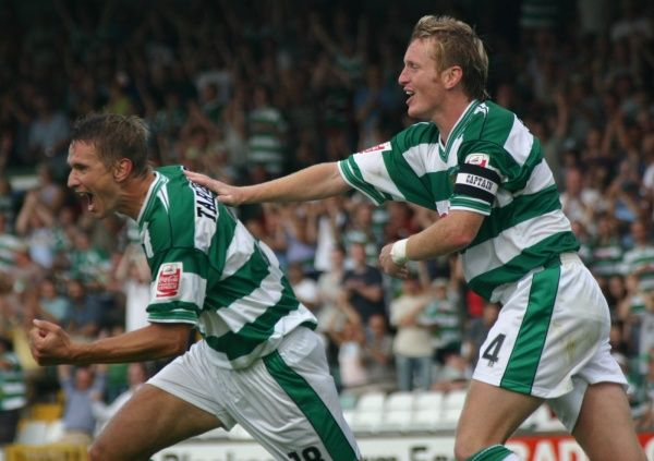 Bartoz Tarachulski celebrates with Terry Skiverton after scoring against Boston United. 14th August 2004